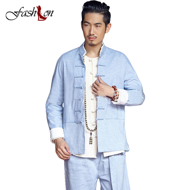 Chinese Traditional Men Clothing Autumn Stand Collar Vintage Frog Buttons Male Cotton Linen Thin Coats Tang Dynasty Clothes