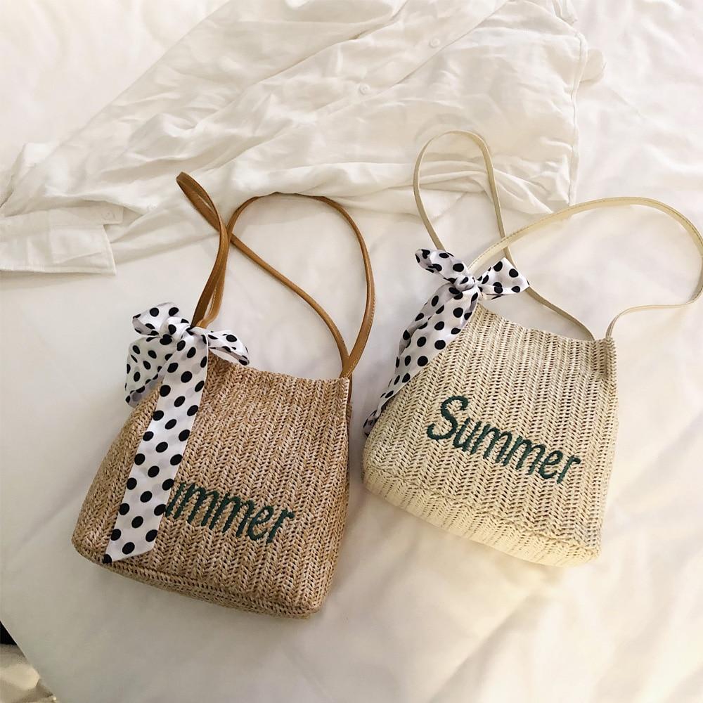 New Women's Straw Bag Bohemian Style Hand-woven Rattan Bag Silk Scarf Portable Beach Bag