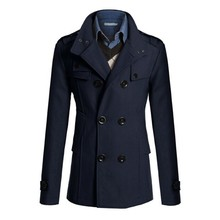 New Men's Trench Coat Winter Warm Wool Long Jacket Double Breasted Thick Windbreake Tops Yo