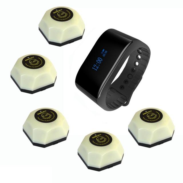 Singcall restaurante wireless sistema de llamada de invitados de localización inalámbrica campana de la tabla 1 reloj pulsera 5 hamburguesa blanco botones de llamada