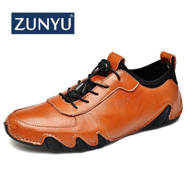 ZUNYU Brand New Mens Del Cuoio Genuino Mocassini Uomo Casual Lace-up Scarpe Da Tennis di Modo Polpo Scarpe Formato dei Pattini di Comodità 38-44