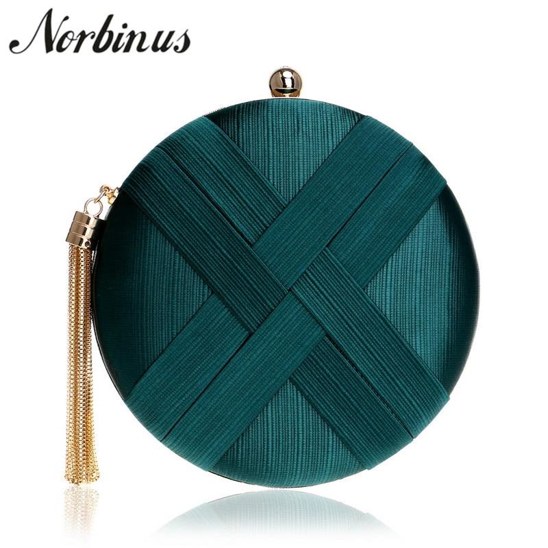 все цены на Norbinus Fashion Women Handbag Small Chain Shoulder Clutch Bag Metal Tassel Key Pocket Lady Round Purse Day Evening Clutch Bags онлайн