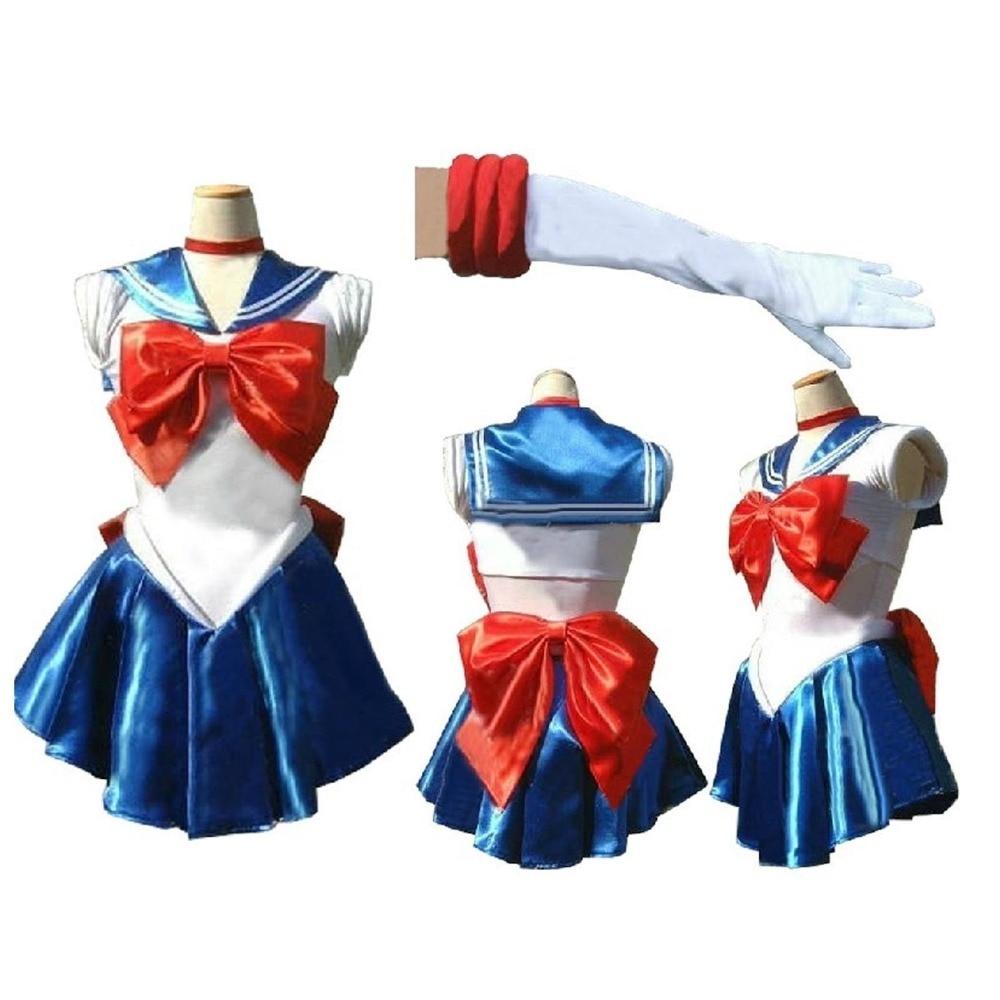 Sailor Moon jupiter venus mercury mars royal blue saturn WIG Costume Cosplay Uniform Fancy Dress Sailormoon Outfit & Gloves
