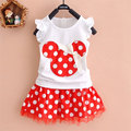 2017 new summer toddler girls kids clothing brand cotton skirt suit for little girls children's clothes sets short-sleeved suit