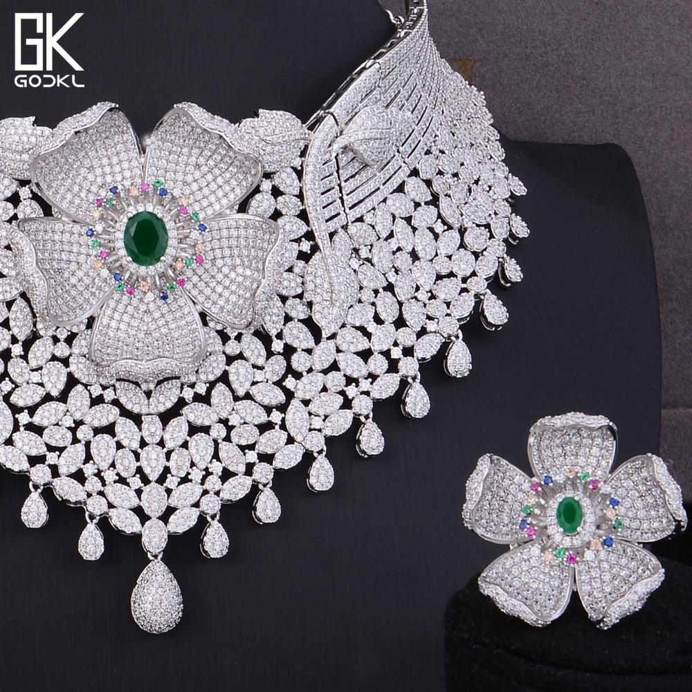 GODKI Luxury Cubic Zirconia Nigerian Jewelry sets For Women wedding Indian Necklace Earrings sets Silver bridal jewelry sets