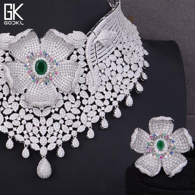 GODKI Luxury Cubic Zirconia Nigerian Jewelry sets For Women wedding Indian Necklace  Earrings sets Silver bridal jewelry sets 6b45743eb574