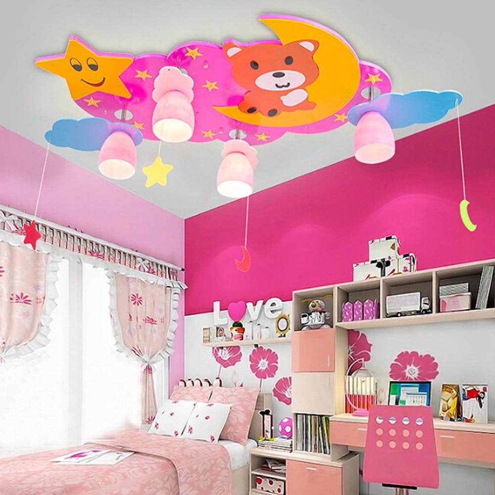 Wooden led ceiling lamps childrens lamps decorative lighting for kids - High Quality Kindergarten Kids Star Bear Led Ceiling Lights Bedroom Living Room E27 Led 110v