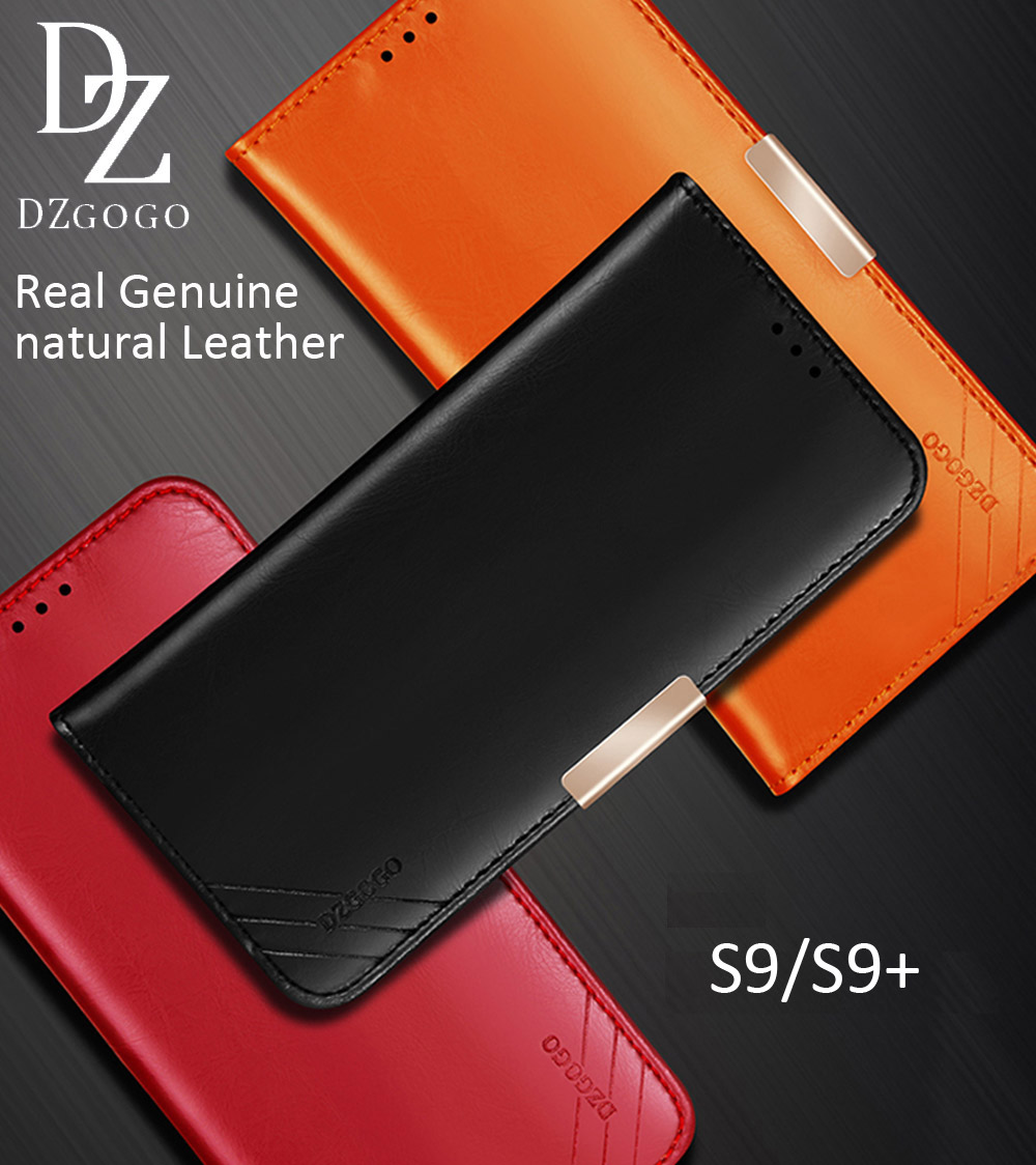 DZGOGO Real Genuine natural Cow Leather Case For Samsung Galaxy S9 Plus Magnetic Deluxe Luxury Wallet Bag Cover