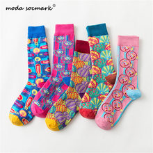 Moda Socmark Fashion Colorful Happy Socks men/women Newly Shell Cactus Soft Breathable Cotton Long Socks Casual Funny Socks male