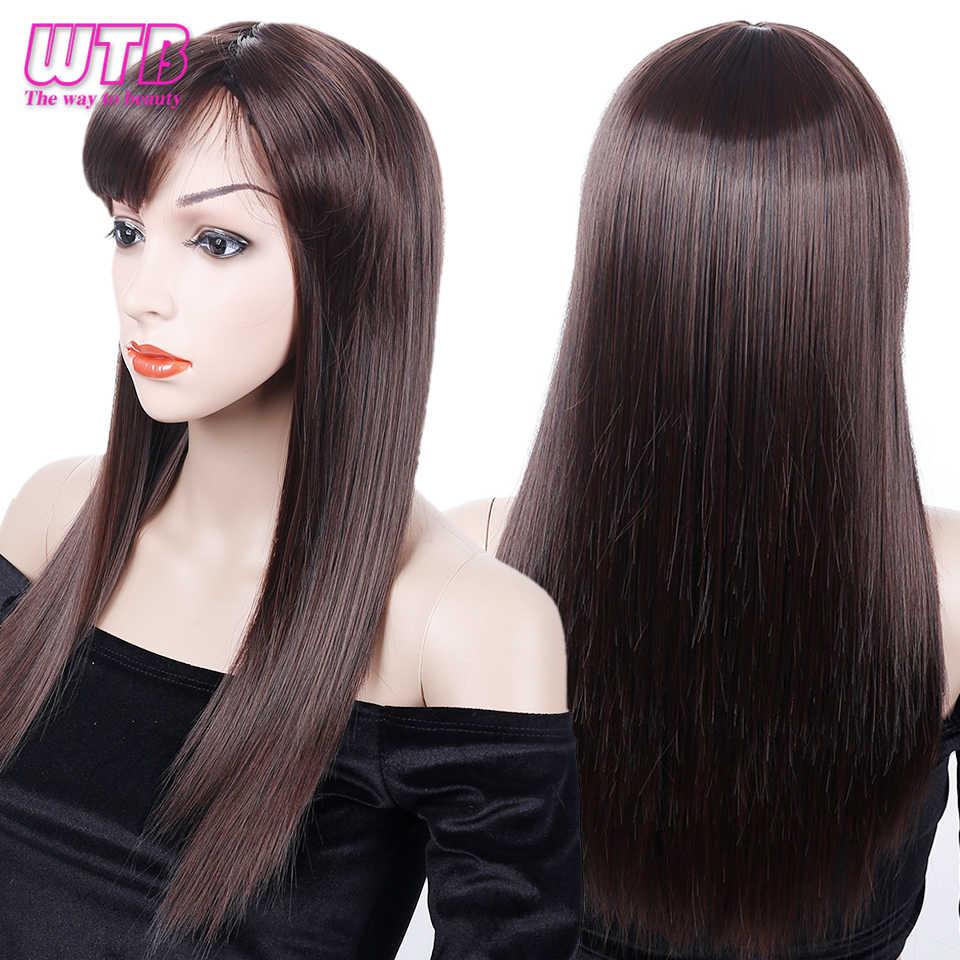 WTB 20 Inç Uzun Düz Kahverengi Peruk Kadınlar için Patlama ile Isıya Dayanıklı Sentetik Peruk Günlük Giyim Peruk 6 Renkler