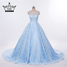 SERENE HILL Real Photo Luxury Light Blue Top Wedding Dress