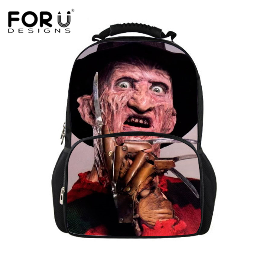 FORUDESIGNS Men backpack 2017 Freddy Krueger of A Nightmare On Elm Street Teen boys backpacks women backpack mochila bagpack neca a nightmare on elm street 2 freddy s revenge 3 dream warrior freddy krueger pvc action figure collectible model toy 50cm