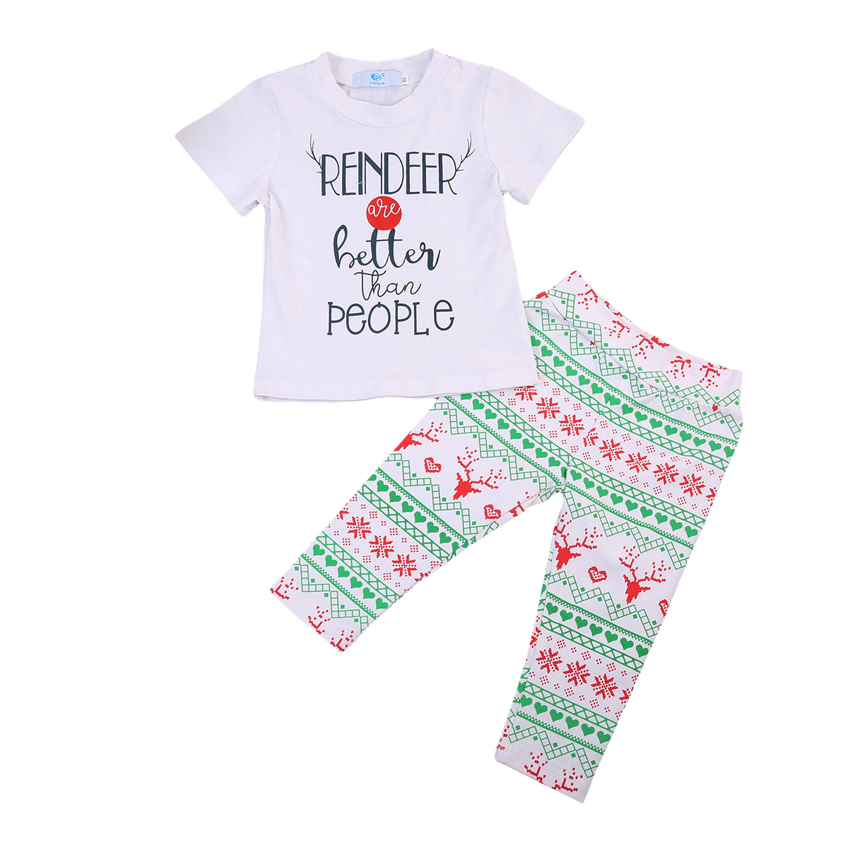 Christmas Toddler Kids Baby Girls Boys Clothes Sets T-shirt Tops Short Sleeve Pants Casual Cotton Clothes Outfits 0-6Y  2017 new fashion brand boys t shirt kids tops designer toddler baby boys t shirts cotton short sleeve tee shirt kids t shirt