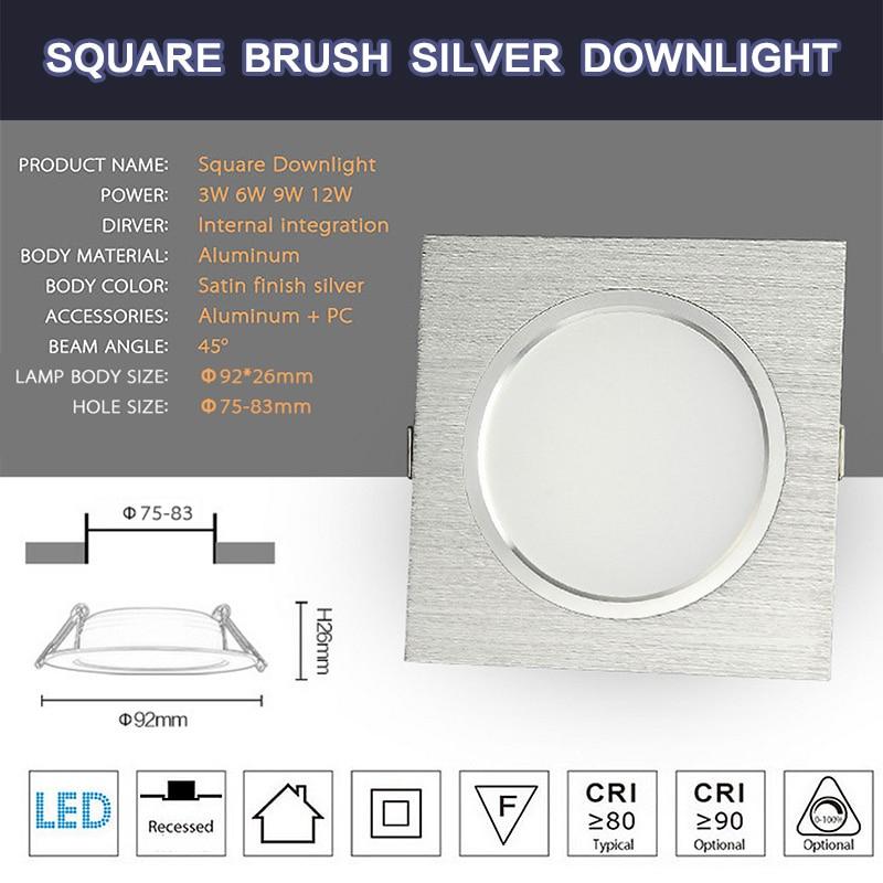LED Downlights Square Brush plata 3W 6W 9W 12W AC220V 230V LED - Iluminación interior - foto 2