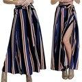 Primavera E Verão Moda Feminina Largas Calças Perna Casuais Calças Confortáveis Calças Listradas