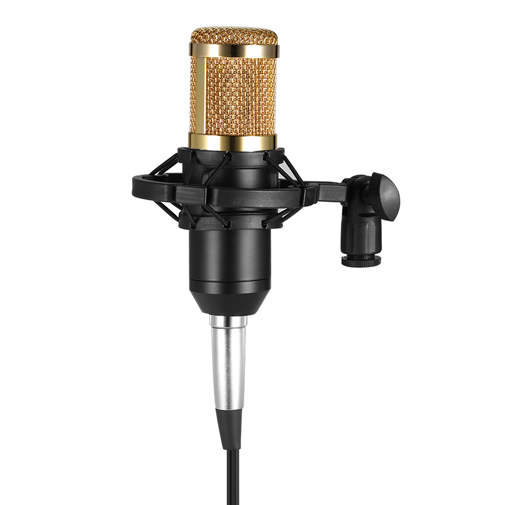 BM800 Condenser Microphone 5 Color Studio Sound Recording Broadcasting with Shock Mount 3.5mm Audio Cable Sponge Microphone(China)