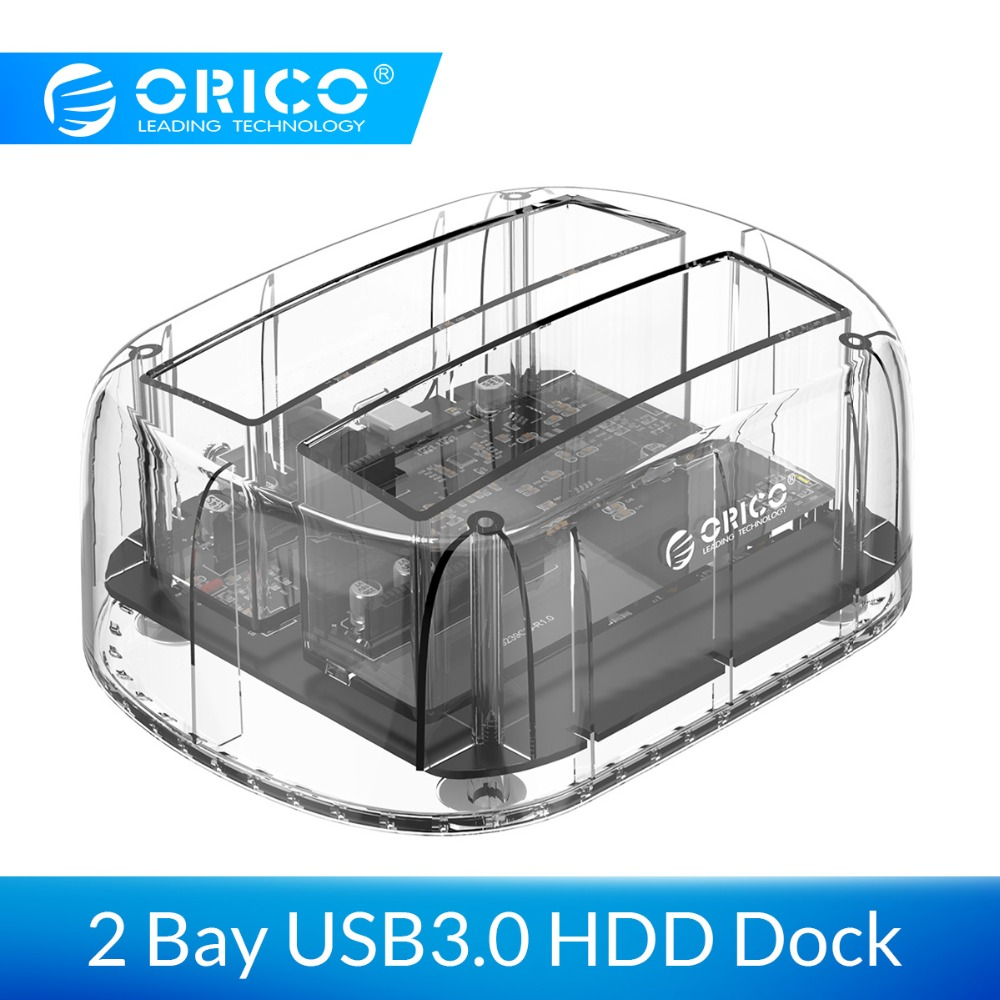 ORICO 2.5/3.5 Inch 2 Bay USB3.0 Transparent Hard Drive Enclosure Support UASP 24TB HDD Dock Station With 12V3A Power Adapter