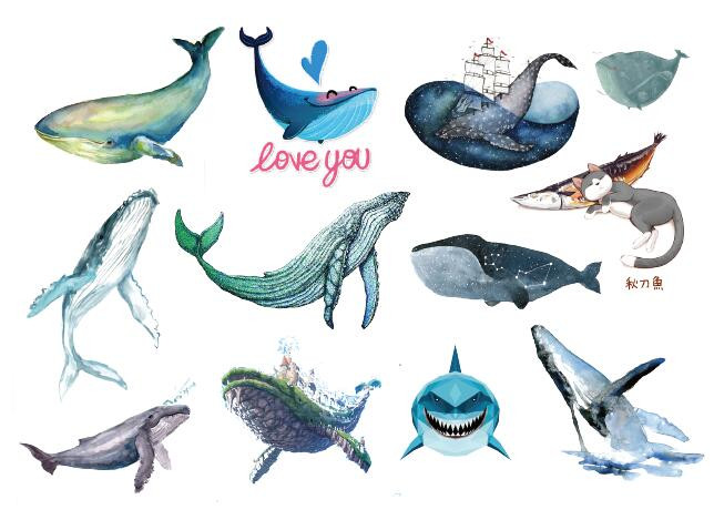 Waterproof Temporary Fake Tattoo Stickers Watercolor Blue Whale Fish Ship Cat Cartoon Design Kids Child Body Art Make Up Tools