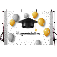 Celebration Graduation Theme Background Congratulations Banner Backdrop for Students Black Bachelor Cap and Balloons