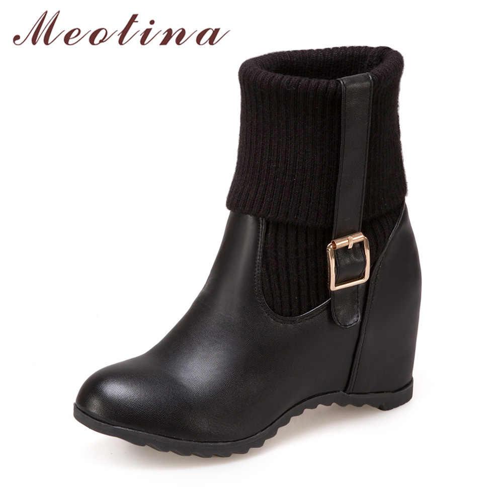 Meotina/женские сапоги до середины икры, увеличивающие рост, зимние сапоги на каблуке, сапоги с пряжкой, новый дизайн, женская обувь, белый, черный цвет, большие размеры 33-43