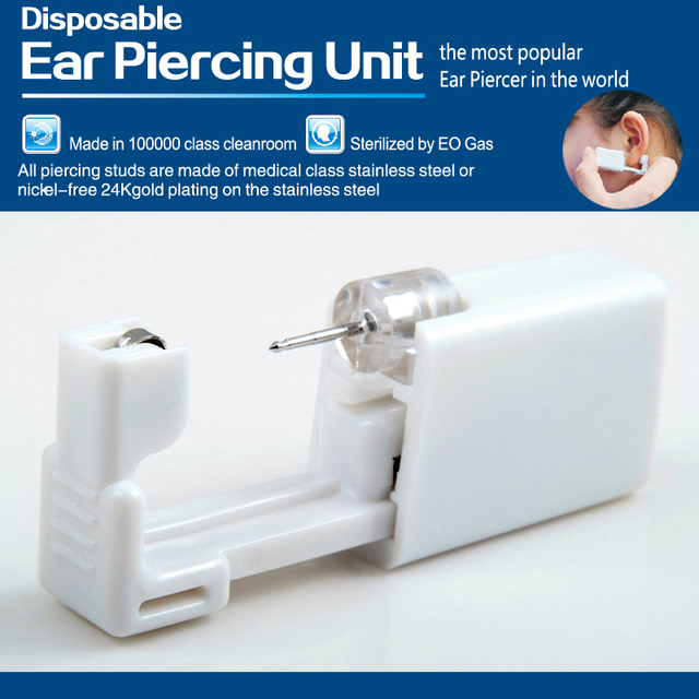 24pcs/box Disposable No Pain Sterile Ear Puncture Unit Tiffany Crystal Ear Studs CZ Gem Earring Body Piercing Jewelry