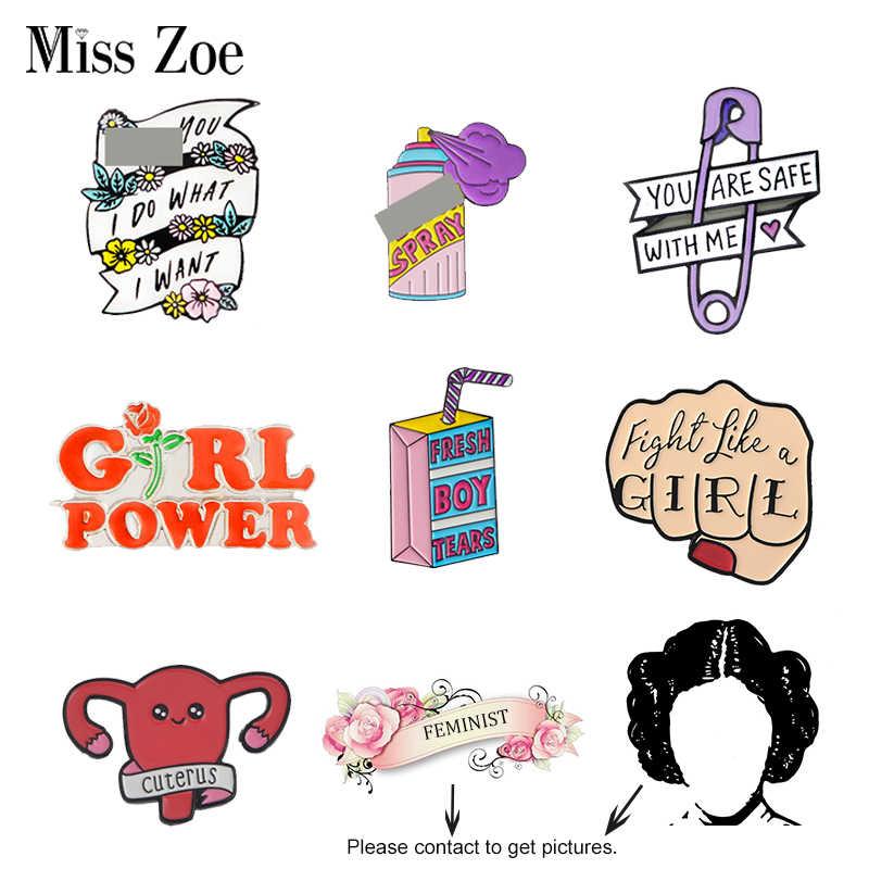 Feminis Enamel Pin Girl Power Wanita Hakim Putri Bros Tas Pakaian Kerah Pin Kesetaraan Gender Lencana Feminisme Perhiasan Hadiah