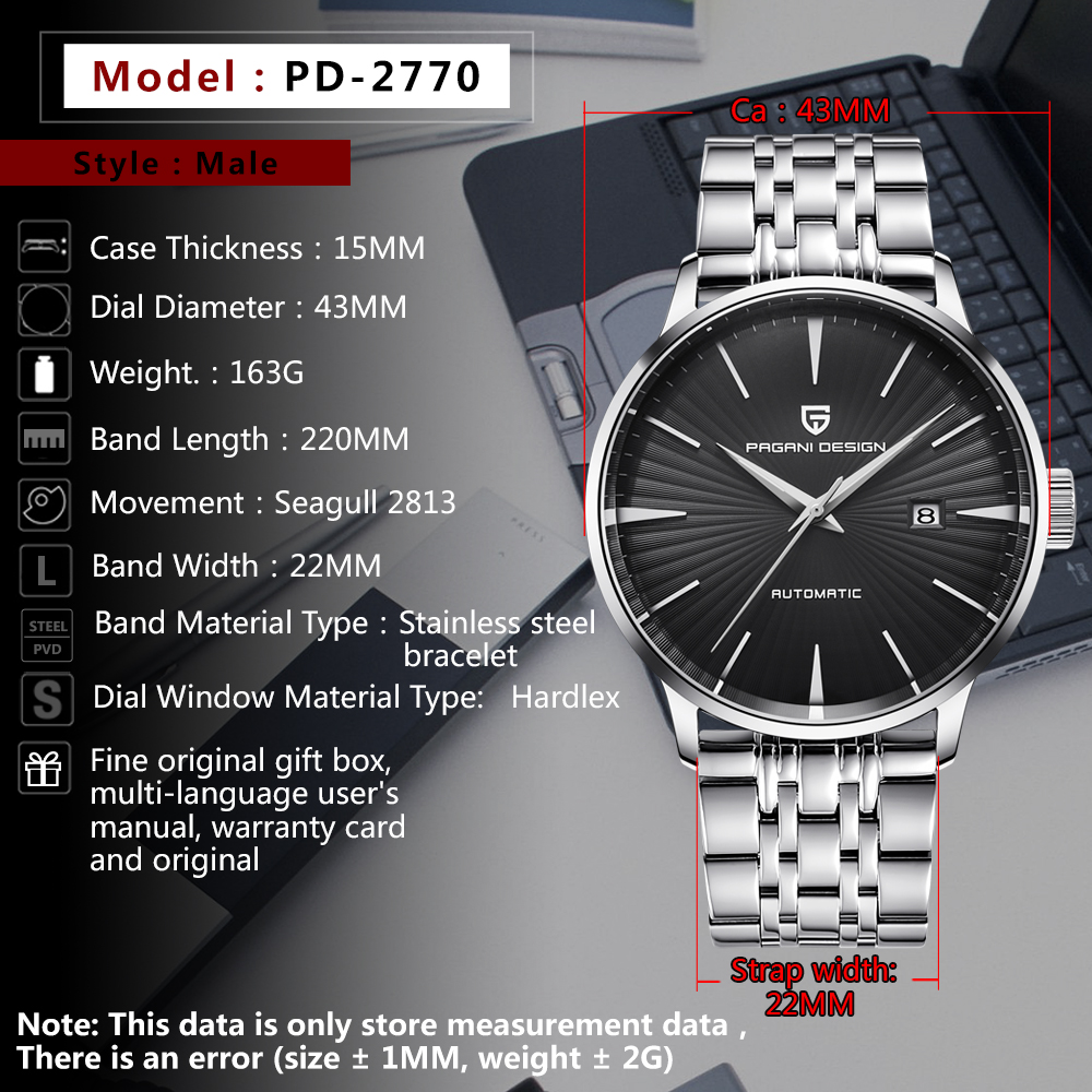 15c423b9384 PAGANI DESIGN Men s Fashion Casual Mechanical Watches Waterproof 30M ...
