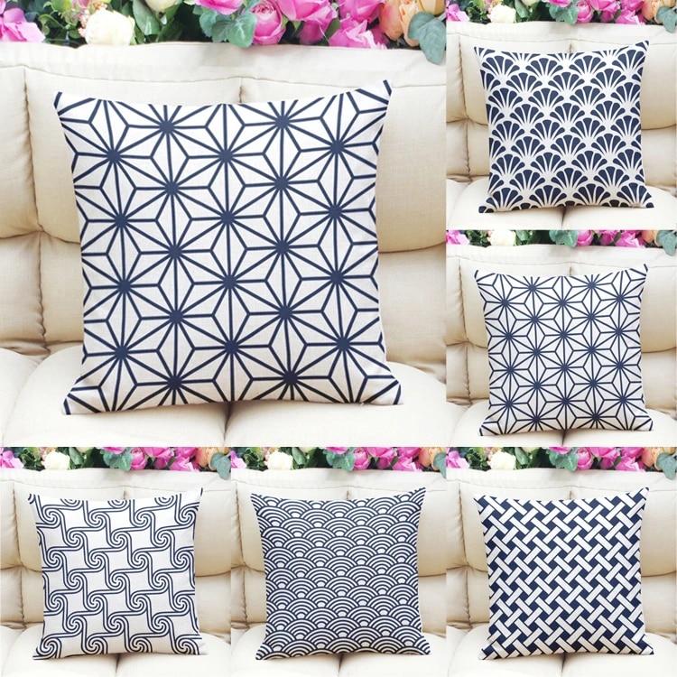 Traditional Ethical Japanese Plaid Patterns Throw Pillow Cover Decorative Massager Pillows Linen Zip Diy Home Decor Gift 18x18 Decorative Pillows Aliexpress