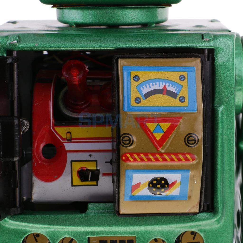 Retro Vintage Baterías Operado Caminar Mecánica Electrónica Robot Tin Toy Coleccionables Niños Niños Adultos Juguetes Regalos - 5