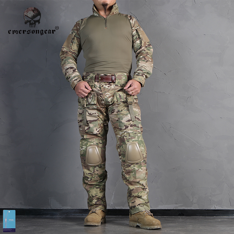 Emersongear Tactical Combat Uniform Frog Suit Emerson Military Shirt & Pants With Knee Pads Elbow Pads EM2711 Multicam military uniform multicam army combat shirt uniform tactical pants with knee pads camouflage suit hunting clothes