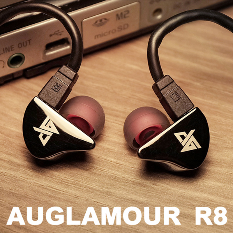 Original AUGLAMOUR R8 Earphone 3.5mm Jack Stereo Hifi Metal Headset in Ear Earphones Mobiles Mp3 Earbuds With 2-Pin Cable Earbud stylish in ear earphone with earbuds black silver 3 5mm jack 120cm cable