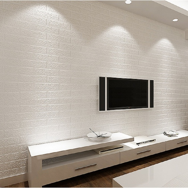 Modern Pure White Brick Wallpaper Effect Wall Paper Faux Exposed Living Room
