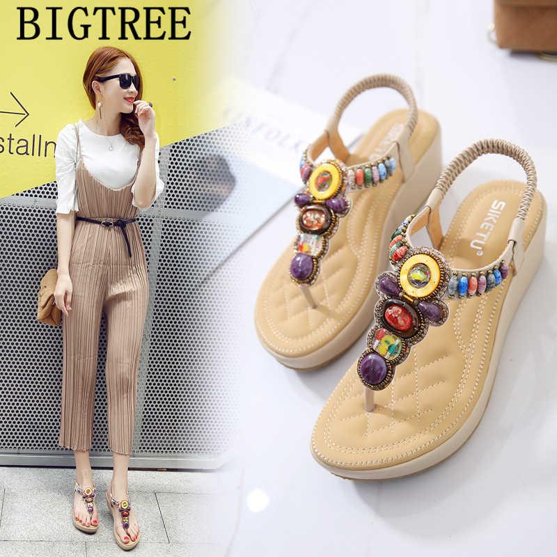 Platform sandalen wiggen schoenen voor vrouwen glitter sandalen sexy sandalen vrouwen schoenen zomer mode 2019 teenslippers ayakkabı