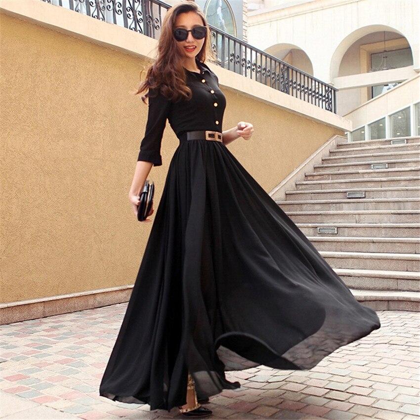 f9cae4968 2019 New Spring Summer Dress Women Short Sleeve Black White Long Maxi Dress  Side Split Boho Chiffon Dresses With Belt Vestidos-in Dresses from Women's  ...