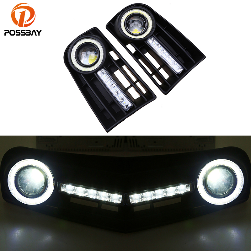 все цены на POSSBAY Front Bumper Grille Convex Lens LED Fog Lights for VW Golf MK5 2004-2009 Angel Eye Fog Lamp DRL Daylights онлайн