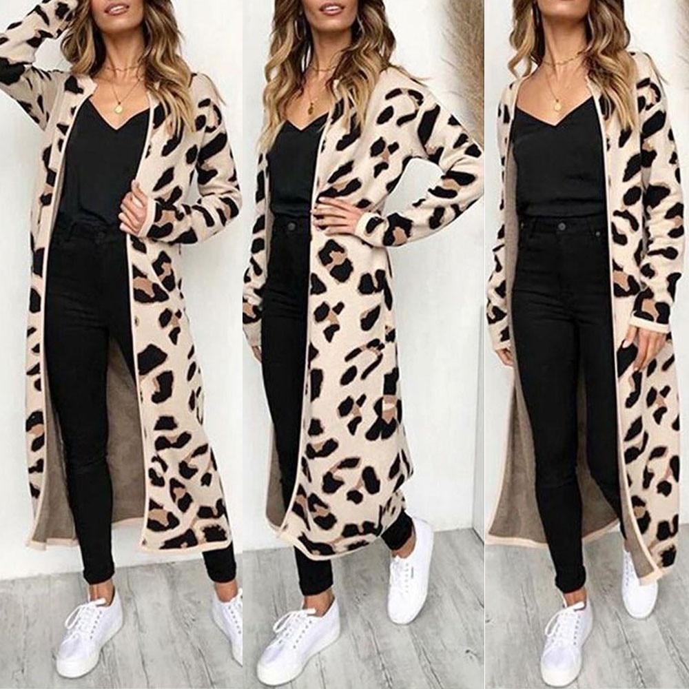 Новый свитер женский длинный рукав Леопардовый принт кардиган открытая передняя куртка пальто blusas femininas sueter mujer invierno 2019