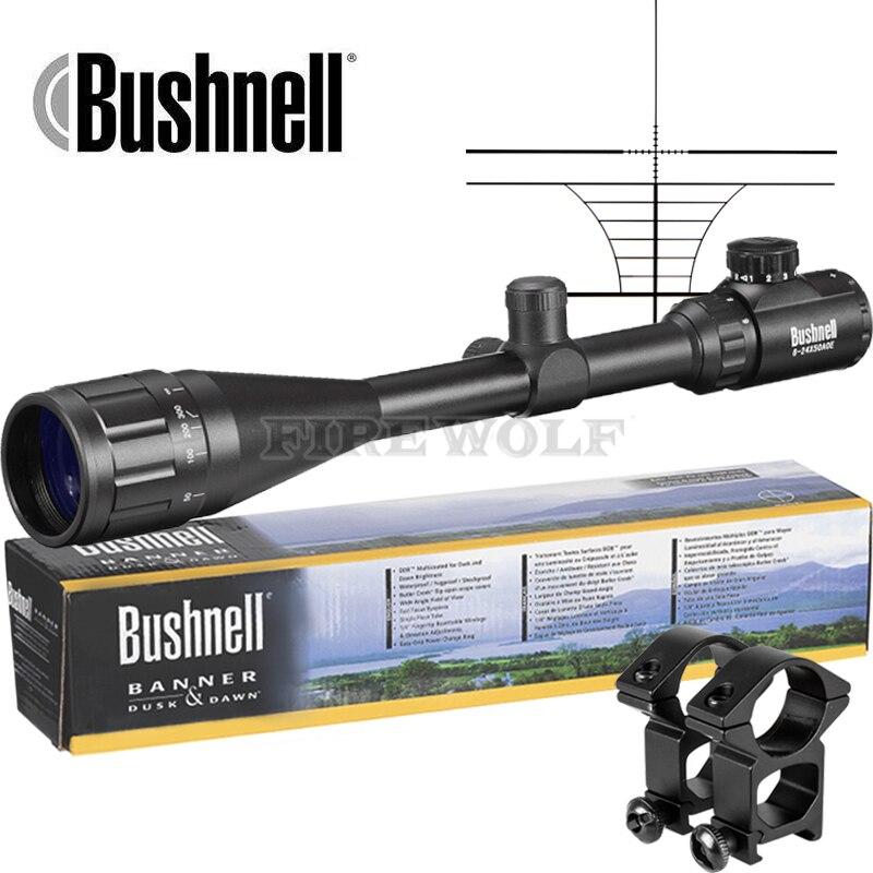 Бушнелл 6-24X50 AOE прицел Регулируемая Зеленый в красный горошек охота свет тактический область сетка оптический прицел