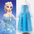 New 2015 hot sale child's baby Girl's Snow Princess Queen Elsa Anna Cosplay Costume Fancy Dress 2-12Y Free Shipping