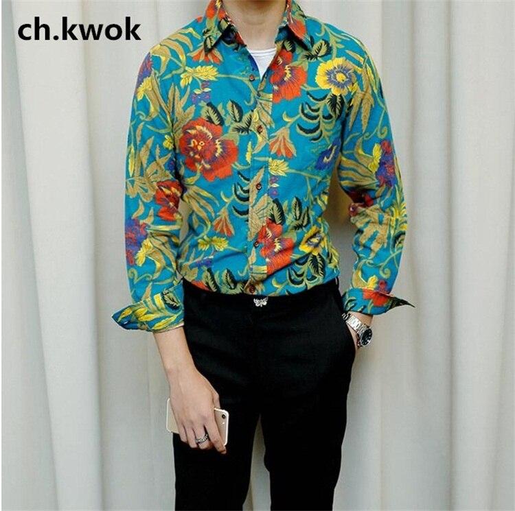 CH. KWOK rétro hommes imprimé lin Brouse à manches longues Slim coupe mixte couleur Version Hawaii personnalité bord de mer chemises de plage