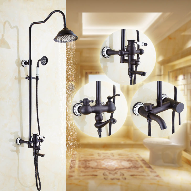 Shower Faucets Wall Mount Bathroom Faucet Black Shower Head Top Spray Washing Taps For Mixer 3 Ways Home Decoration XE-6002 цены