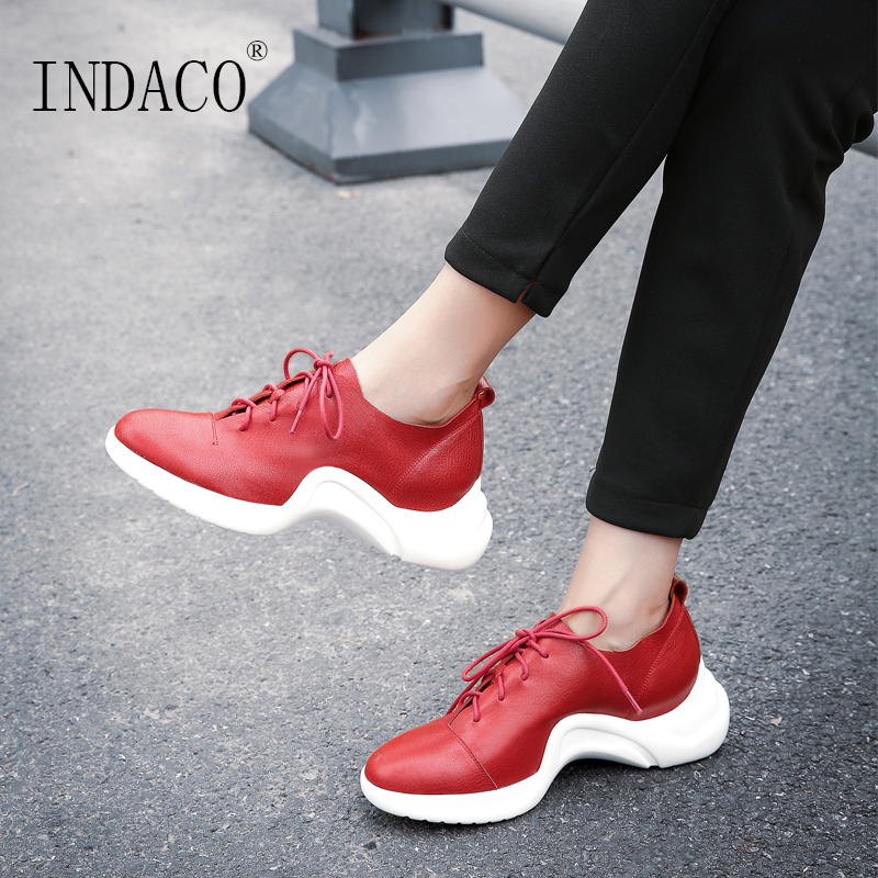 2018 New Casual Leather Sneakers Red Black Lace Up Comfortable Footwear Women Sneakers Shoes 6.5cm red off shoulder lace up elastic waistband casual co ords