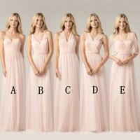 Long yarn Blush Pink Bridesmaid Dresses 2018 A Line Vestido De Festa De Casamen Formal Party Prom Dresses plus size maxi 2 26w