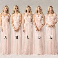 Long yarn Blush Pink Bridesmaid Dresses 2018 A Line Vestido De Festa De Casamen Formal Party Prom Dresses plus size maxi 2 26w