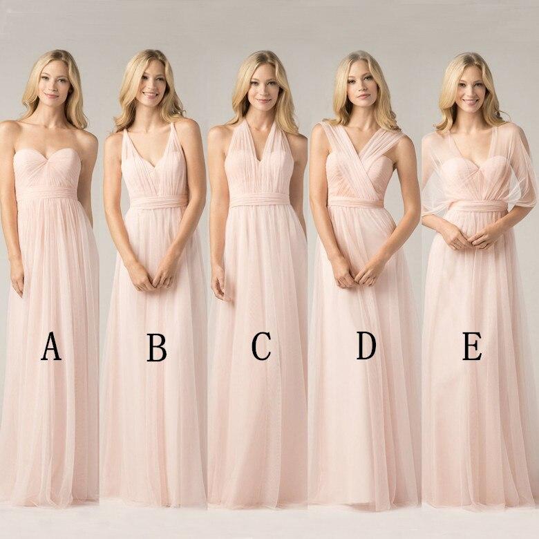 Longues robes De demoiselle d'honneur rose Blush 2018 a-ligne Vestido De Festa De Casamen formelle fête bal robes De grande taille maxi 2-26 w