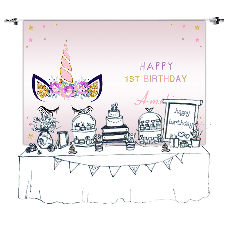 723740952e1fc Unicorn Theme Birthday Party Banner Customized Baby Kids Portrait ...