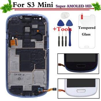 החלפה עבור Samsung Galaxy S3 מיני i8190 LCD תצוגת מסך מגע עם מסגרת עצרת לבן/כחול