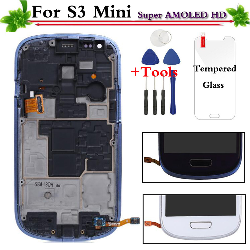 Replacement For Samsung Galaxy S3 Mini i8190 LCD Display Touch Screen With Frame Assembly White/Blue Replacement For Samsung Galaxy S3 Mini i8190 LCD Display Touch Screen With Frame Assembly White/Blue
