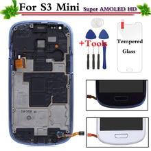 Замена для samsung Galaxy S3 Mini i8190 ЖК-дисплей Дисплей Сенсорный экран с рамкой сборки белый/синий