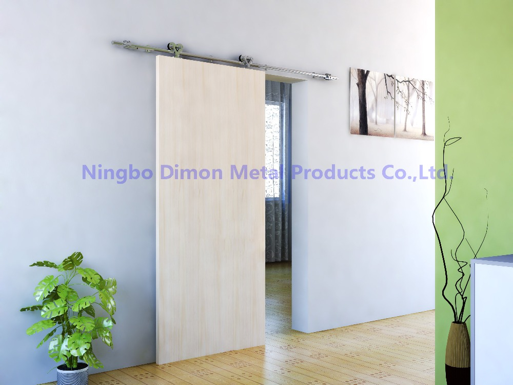 Купить с кэшбэком Free shipping Dimon SUS 304 stain high quality two heads wood sliding door hardware DM-SDS 7102 without sliding rail