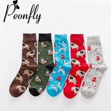 PEONFLY New Arrival of Colorful Dog Bunny Men s Socks Novelty Fun Funny Men Socks